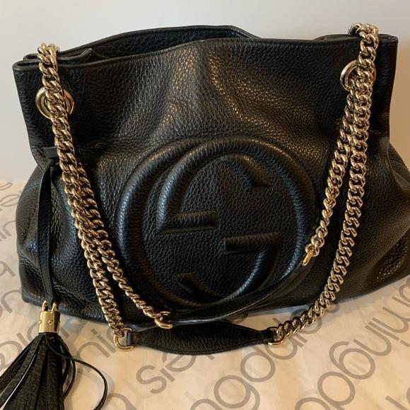 Gucci Handbags - Gucci Soho Camelia Black Pebbled Hobo Shoulder Bag